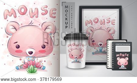 Cute Mouse - Poster And Merchandising. Vector Eps 10