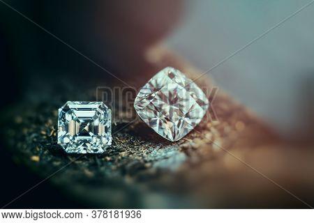 Diamond Gemstone. Jeweler Background. Precious Loose Stone