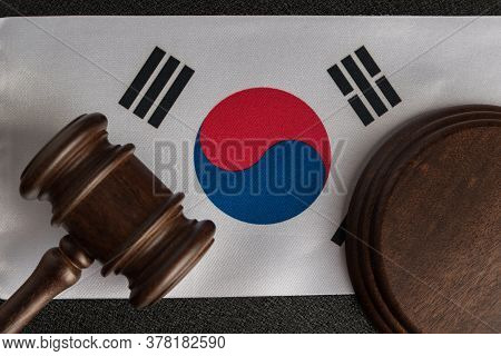 Justice Mallet On South Korea Flag. Protection Of Human Rights. Legality Concept.