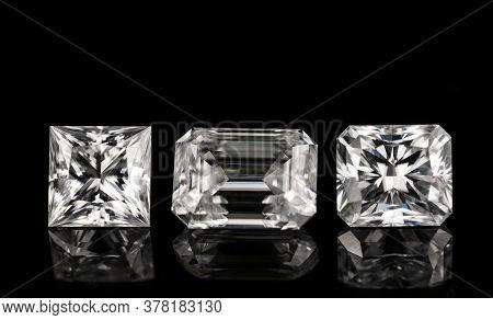 Princess Cut, Emerald Cut And Radiant Cut Diamonds On A Black Background