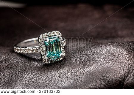 Blue Diamond Engagement Jewelry Ring On Leather
