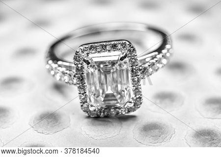 Golden Emerald Ring. Blue Gemstone Jewelry Ring