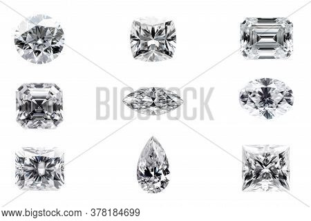 Various Shapes Of Diamond Gemstones On White Background