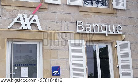 Bordeaux , Aquitaine / France - 07 22 2020 : Axa Banque Logo And Text On Office Agency With Sign Of