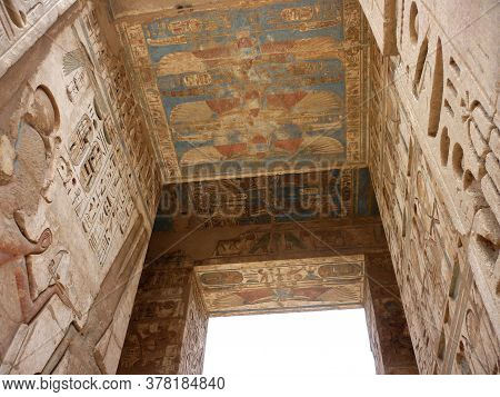 Pharaonic Rare Colored Sculptures Walls & Ceiling At A Temple In Luxor, Egypt