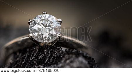 Diamond Engagement Ring. Jewelry Ring With Precious Gemstone