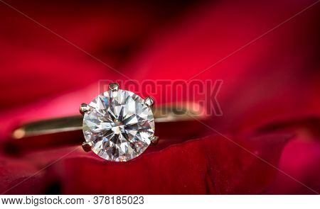 Engagement Diamond Ring On Red Flower Petals