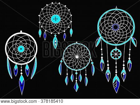 Turquoise Dream Catchers Set, Boho Style With Feathers On A Black Background