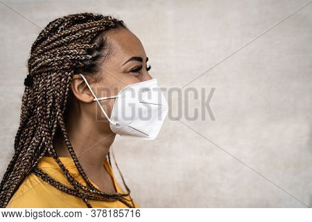 African Woman With Braids Wearing Face Medical Mask - Young Girl Using Facemask For Preventing And S