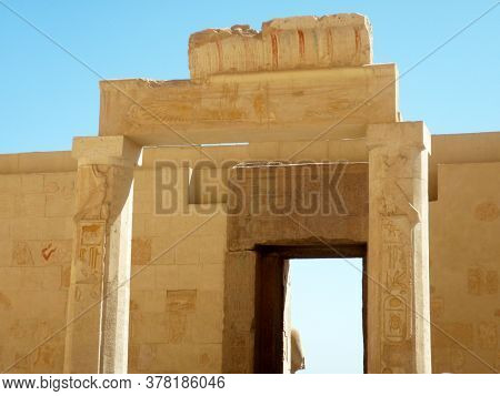 Temple Entrance In Luxor Egypt With Rare Colored Sculptures & Hieroglyphs