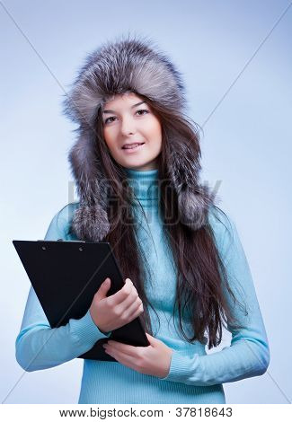 woman winter with clipboard