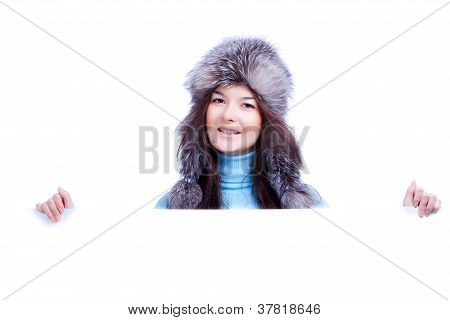 winter woman hold banner