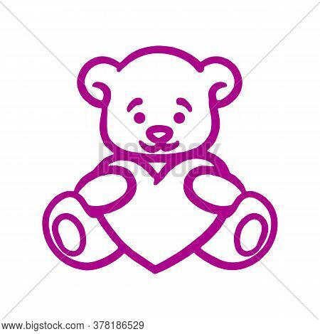 Teddy Bear With Heart Vector Sketch Icon Isolated On Background. Hand Drawn Teddy Bear With Heart Ic