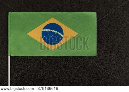 Flag Of Brazil On Black Background. Ordem E Progresso