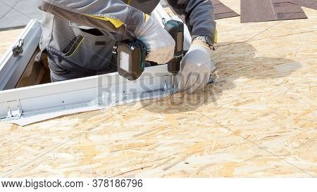 Concept Of House Improvement. Banner With Cropped View Of Professional Workman Using Electric Drill,