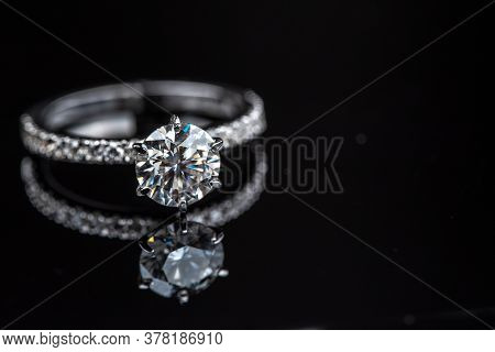Engagement Diamond Ring. Gold Jewelry Ring With Luxury Gemstone