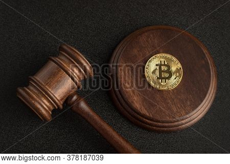 Judge Gavel And Bitcoin. Cryptocurrency Legislation. Bitcoin Ban. Violation Of Law.