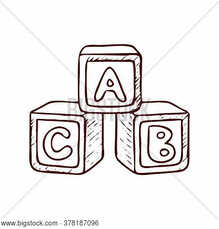 Alphabet Cubes Vector Sketch Icon Isolated On Background. Hand Drawn Alphabet Cubes Icon. Alphabet C