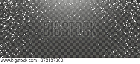 Snowfall And Falling Snowflakes On Transparent Background. White Snowflakes And Christmas Snow. Vect