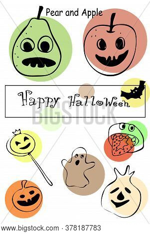 Pear And Apple, Ghost Cookie, Lollipop, Apple Slice With Strawberry Tongue , Ghost Ravioli, Pumpkin