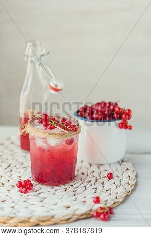 Glass Jar Of Red Currant Soda Drink On White Wooden Table. Summer Healthy Detox Lemonade, Cocktail O