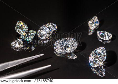 Luxury Diamond Gemstone On The Black Background
