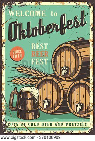 Retro Poster With Beer Mug, Barrel And Barley