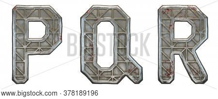 Set of capital letters P, Q, R made of industrial metal isolated on white background. 3d rendering