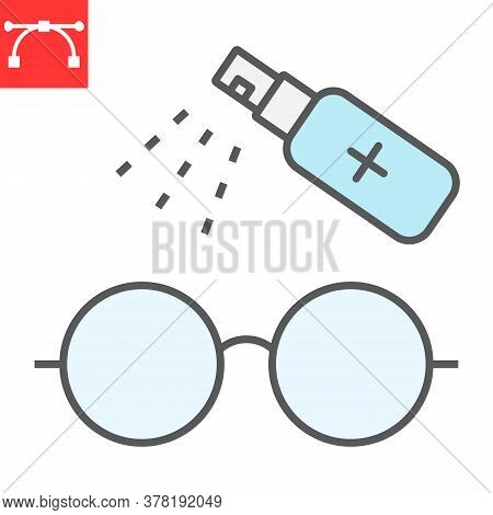 Disinfection Eyeglasses Color Line Icon, Hygiene And Disinfection, Cleaning Eyeglasses Sign Vector G