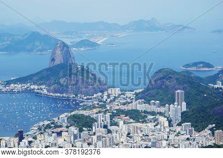 Rio De Janeiro; Brazil - February, 12, 2019: Aerial View Over Rio De Janeiro City, Sugarloaf Mountai