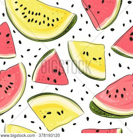Watermelon Seamless Pattern. Hand Drawn Watermelon Slice And Seeds. Vector Illustration For Textile,