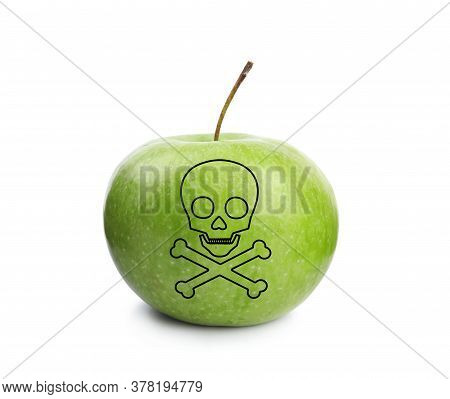 Green Poison Apple With Skull And Crossbones Image On White Background