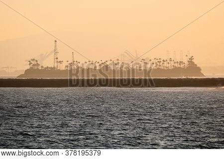 July 25, 2020 In Long Beach, Ca:  Offshore Man Made Oil Island Which Was Developed By Oil Companies