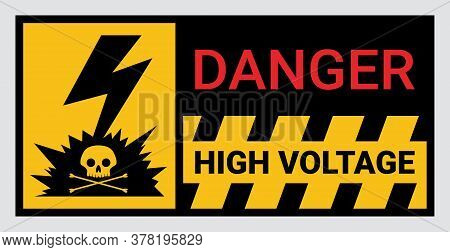 High Voltage Sign Or Electrical Safety Sign For Warning Restricted Area Or Danger Do Not Touch Or Tu
