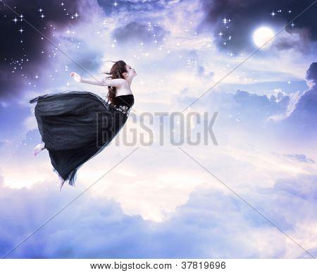 Girl In The Moonlight Sky