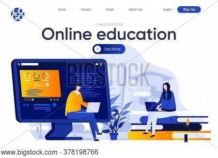 Online Education Flat Landing Page. Students Learning With Laptops Vector Illustration. Distance Edu