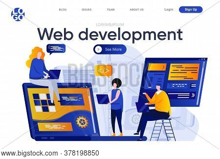 Web Development Flat Landing Page. Creative Team Of Designers And Developers Work Together Vector Il