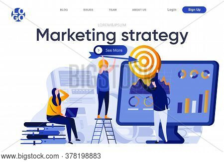 Marketing Strategy Flat Landing Page. Marketing Team Doing Target Audience Research Vector Illustrat