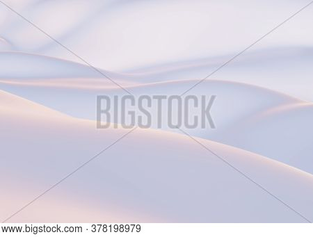 Snow-covered Mountains In Winter. Empty White Backdrop, White Smooth Hills, White Background For Cop