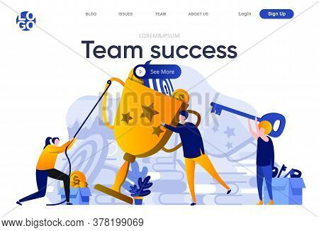 Team Success Flat Landing Page. Business Team Together Achieves Their Goal And Reach Success Vector