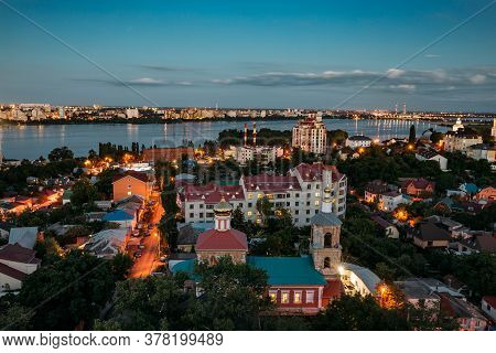 Night Summer Voronezh Skyline. Aerial View From The Roof