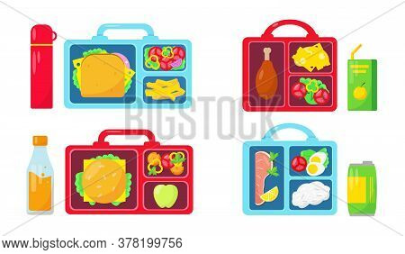 Set Of Lunch Boxes With Food And Drinks On White Background. School Lunch Collection. Vector Icons I