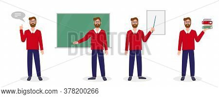 Teacher, Lecturer Or Professor In Different Poses. Set Of Scenes With Teacher. Welcome Back To Schoo