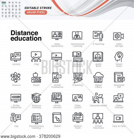 Thin Line Icons Set Of Distance Education. Premium Quality Outline Symbols, Editable Stroke. Pixel P