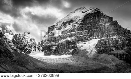 Black And White Photo Of Mount Lefroy And The Mitre Seen From The Trail To The Plain Of Six Glaciers