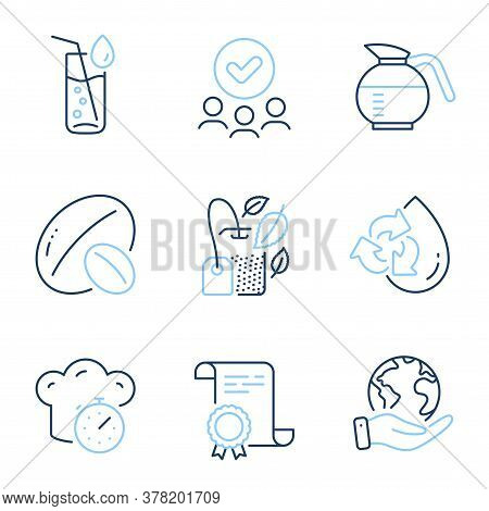 Recycle Water, Mint Bag And Water Glass Line Icons Set. Diploma Certificate, Save Planet, Group Of P