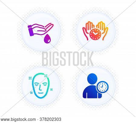Wash Hands, Safe Time And Health Skin Icons Simple Set. Button With Halftone Dots. Time Management S