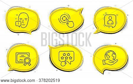 Face Attention Sign. Diploma Certificate, Save Planet Chat Bubbles. Seo Target, Ranking Star And Dev