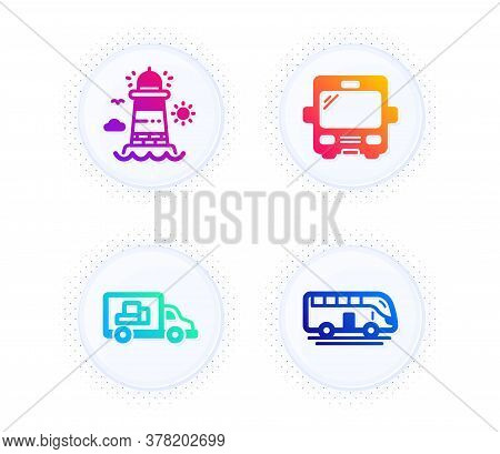 Truck Transport, Lighthouse And Bus Icons Simple Set. Button With Halftone Dots. Bus Tour Sign. Deli