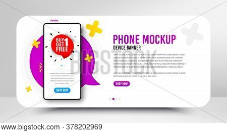 Buy 1 Get 1 Free Badge. Phone Screen Mockup Banner. Discount Banner Tag. Coupon Icon. Social Media B
